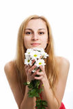 Blonde with a bouquet of chrysanthemums Stock Photo