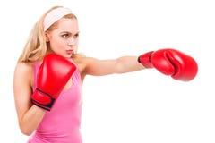 Blonde boxing. Stock Photos