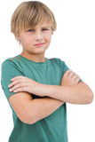 Blonde boy with arms crossed Stock Photos