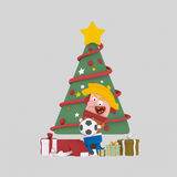 Blonde boy opening gifts in front of Xmas tree. 3D. 