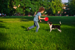 Blonde boy playing with his black and white dog on the lawn in the park. Boy is holding a frisbee. His pet attentively looks at the owner. The doggy has raised Royalty Free Stock Photos