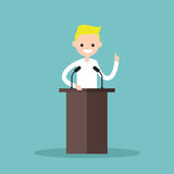 Blonde boy standing behind the tribune and pointing his finger up. / flat   illustration Stock Photo