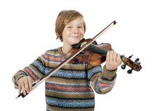Blonde boy with a violin Stock Image