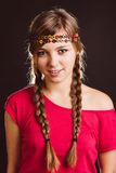 Blonde with braids and headband Stock Photos