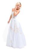 Blonde Braut in einem Hochzeitskleid Stockfoto
