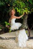 blonde Braut im flaumigen Kleid sitzt auf Baumstammlächeln Stockfotos