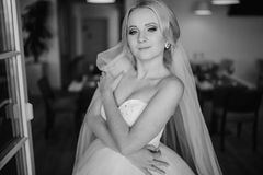 Blonde Braut mit ihrem Bräutigam Stockfotografie