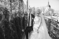 Blonde Braut mit ihrem Bräutigam Lizenzfreie Stockfotografie