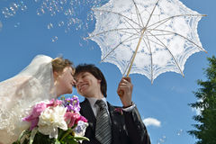 Blonde Braut und Bräutigam Stockfotografie