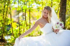 Blonde Brauthochzeit Stockfoto