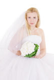 Blonde bride with bouquet isolated on white Stock Images