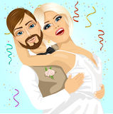 Blonde bride and groom having a romantic moment on their wedding day vector illustration