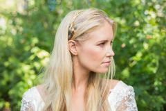 Blonde bride looking away Royalty Free Stock Photo