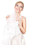 Blonde bride with a veil. Royalty Free Stock Photos