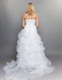 Blonde bride white long wedding dress back view on gray Royalty Free Stock Photography