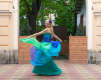 Blonde in a bright evening gown Royalty Free Stock Photo