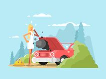 Blonde and broken car. Young woman driver on road, vector illustration Royalty Free Stock Photos