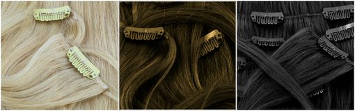Blonde, brown and black clip-in extensions Stock Images