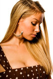Blonde in brown dress Royalty Free Stock Photos