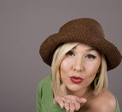 Blonde Brown Hat Blowing Kiss Royalty Free Stock Photo