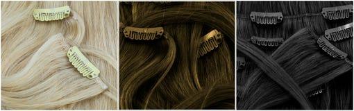 Blonde, bruin en zwarte klem-in uitbreidingen Stock Afbeeldingen