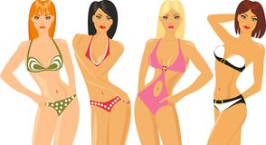 Blonde and brunette in bikini Royalty Free Stock Image