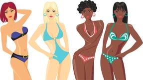 Blonde and brunette in bikini Stock Photography