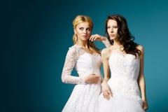 Blonde and brunette bride on blue background Stock Image