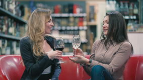 Blonde and brunette are degustating the wine on the sofa. Young girls sitting on the sofa in the shop. Two pretty girls are hugging and laughing. The friends are stock footage