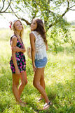 Blonde and brunette smiling girls standing in Royalty Free Stock Photography
