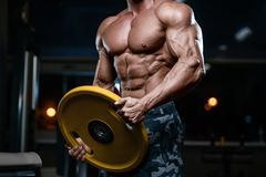 Brutal strong bodybuilder athletic men pumping up muscles with d. Blonde brutal strong bodybuilder athletic fitness man pumping up abs muscles. Workout royalty free stock photos