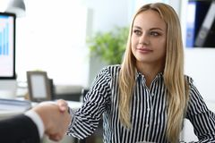 Blonde business lady royalty free stock image