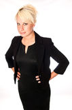 Blonde business woman in a black suit Royalty Free Stock Image