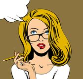 Blonde business woman in glasses looking up and biting her lips. With a pencil in hand. Drawing in pop art style. There is in addition a vector format EPS 8 Stock Image