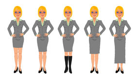 Blonde business woman grey skirt suit hands on hips. Blonde business woman with sassy smile, hands on hips, wearing grey skirt suit of various lengths Stock Image