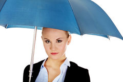 Blonde business woman holding an umbrella Royalty Free Stock Photography