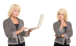 Blonde business woman with notebook Stock Images