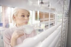 Blonde business woman in the office. Businesswoman with coffee looking through blinds Royalty Free Stock Image