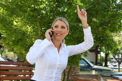 Blonde Business Woman Waving Stock Image