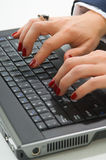Blonde business woman working on computer Stock Photo