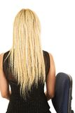 Blonde businesswoman in black Stock Photo