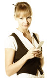 Blonde businesswoman holding phone Stock Photo