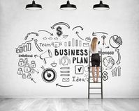 Blonde businesswoman on ladder, business plan Stock Photos