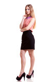 Blonde businesswoman looking away isolated on white background Stock Photos