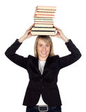 Blonde businesswoman with many books Royalty Free Stock Images