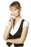 Blonde businesswoman with mobile Royalty Free Stock Images