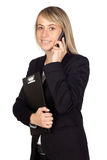 Blonde businesswoman with a mobile Stock Photography
