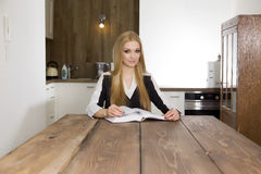 Blonde businesswoman in office Stock Photos
