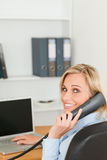 Blonde businesswoman on the phone Stock Photography