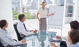 Blonde businesswoman pointing at a growing chart Stock Images